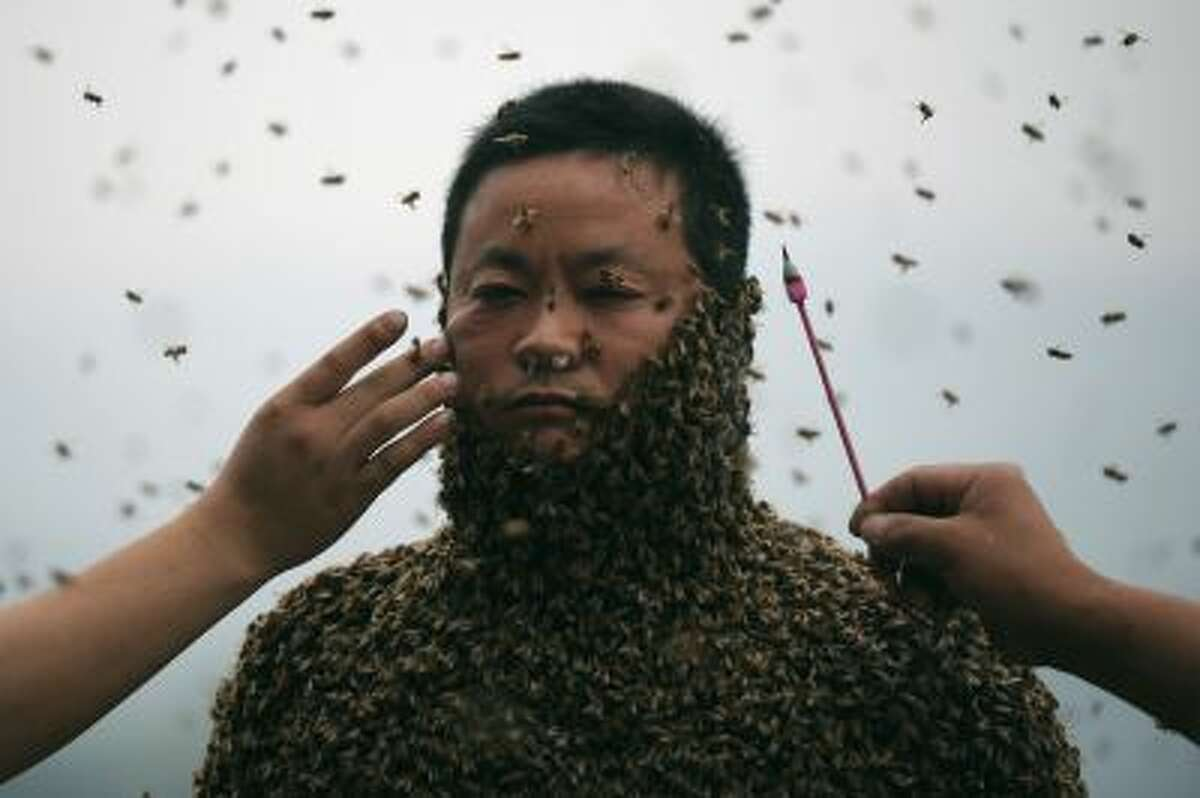 This picture taken on April 9, 2014 shows She Ping, a 34 year-old local beekeeper, covered with a swarm of bees on a small hill in southwest China's Chongqing. She Ping released more than 460,000 bees, attracted them to his body, and made himself a suit of bees that weighs 45.65kg within 40 minutes, local newspaper reported. CHINA OUT AFP PHOTO (Photo credit should read STR/AFP/Getty Images)