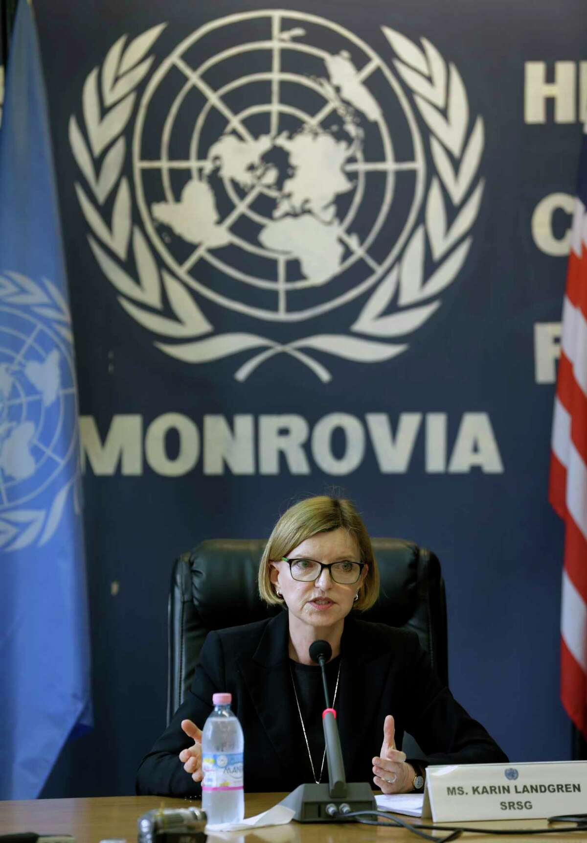 """Karin Landgren, Special Representative of the Secretary-General (SRSG) to the United Nations Mission in Liberia (UNMIL), addresses a news conference in Monrovia, Liberia, Wednesday Oct. 1, 2014. Landgren said, speaking about the Ebola crisis: """"The world is absolutely not doing enough yet, we are still challenged to outrun the disease."""" (AP Photo/Jerome Delay)"""
