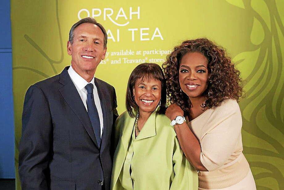 Howard Schultz, CEO, Starbucks; Judith B. Griffin, president, Pathways to College; and Oprah Winfrey. Photo: Journal Register Co.