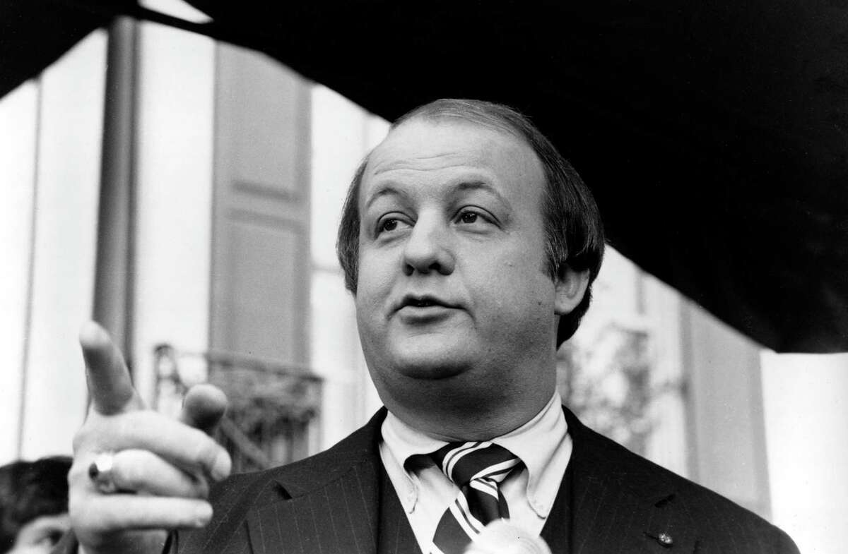 This Jan. 6, 1981 file photo shows James Brady, selected by president-elect Ronald Reagan to become his press secretary, talking to reporters after the announcement was made in Washington. Brady, the affable, witty press secretary who survived a devastating head wound in the 1981 assassination attempt on President Ronald Reagan and undertook a personal crusade for gun control, died Monday. He was 73.