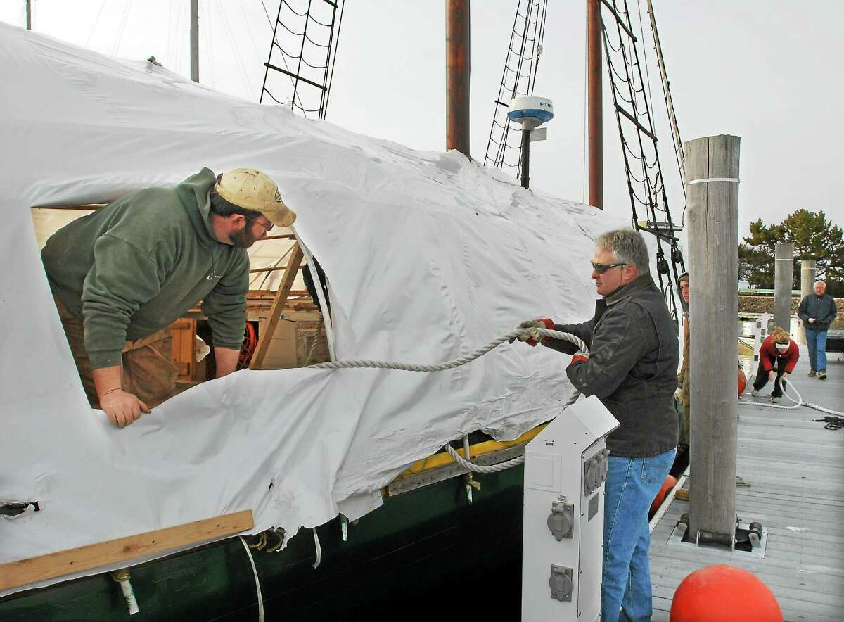 File photo: The schooner Quinnipiack at Pilot's Point Marina in Westbrook getting maintenance and repair.