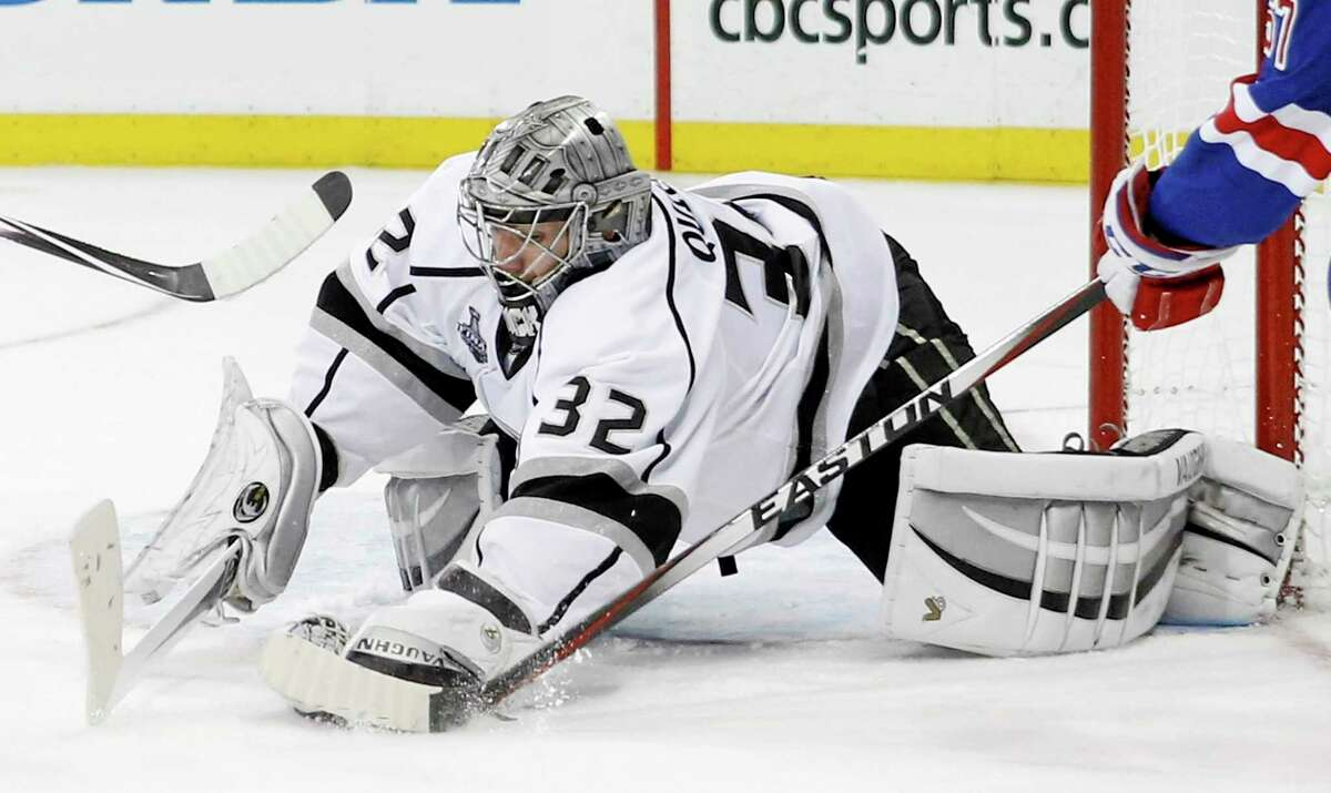 Los Angeles Kings goalie Jonathan Quick (32) blocks a shot against the New York Rangers in the second period during Game 3 Monday.