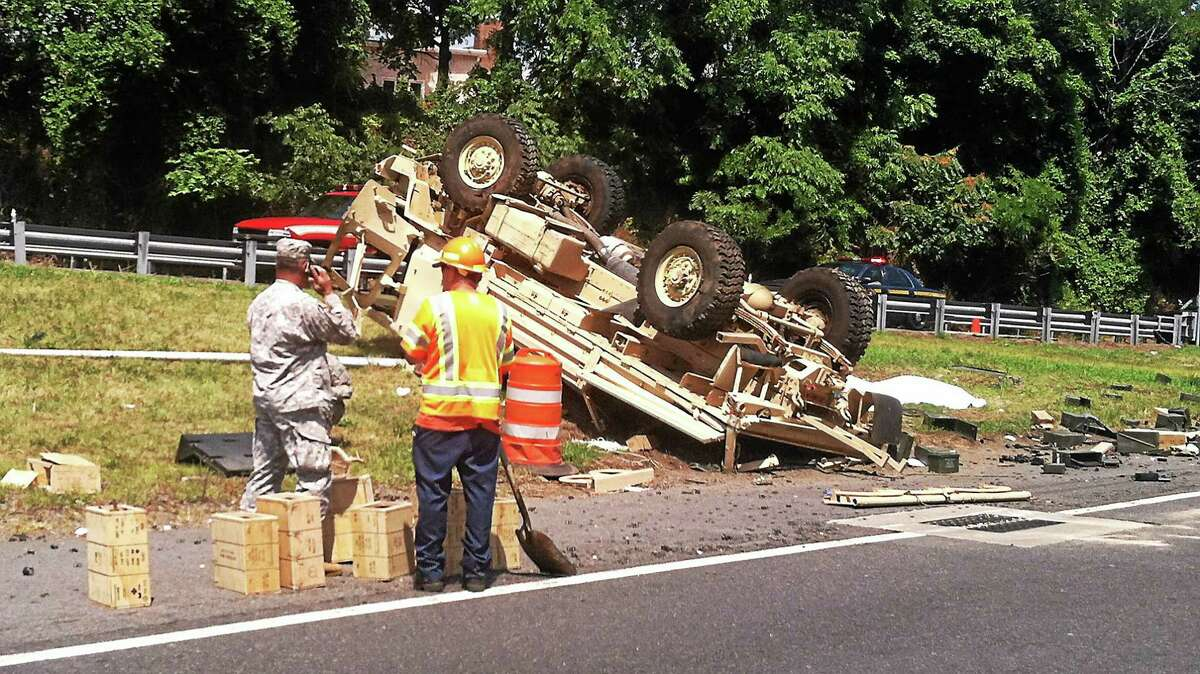 The scene of a crash involving a Connecticut National Guard truck on I-95 in Rye, New York.