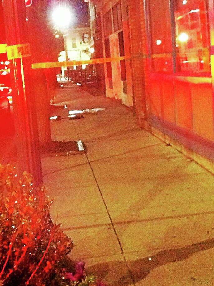 The scene of Friday night's homicide investigation. Photo: Keldy Ortiz/New Haven Register