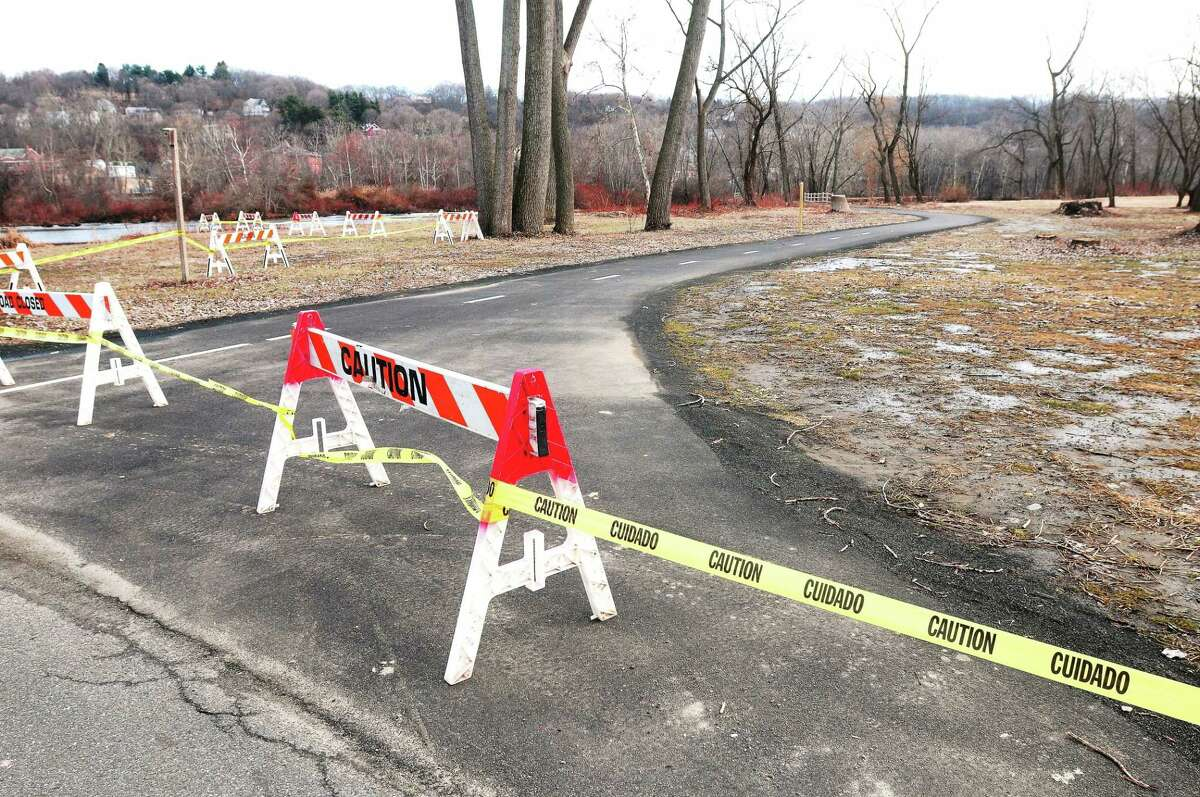 Caution tape prevents pedestrians from entering O'Sullivan Island Recreation Park in Derby photographed on Sunday.