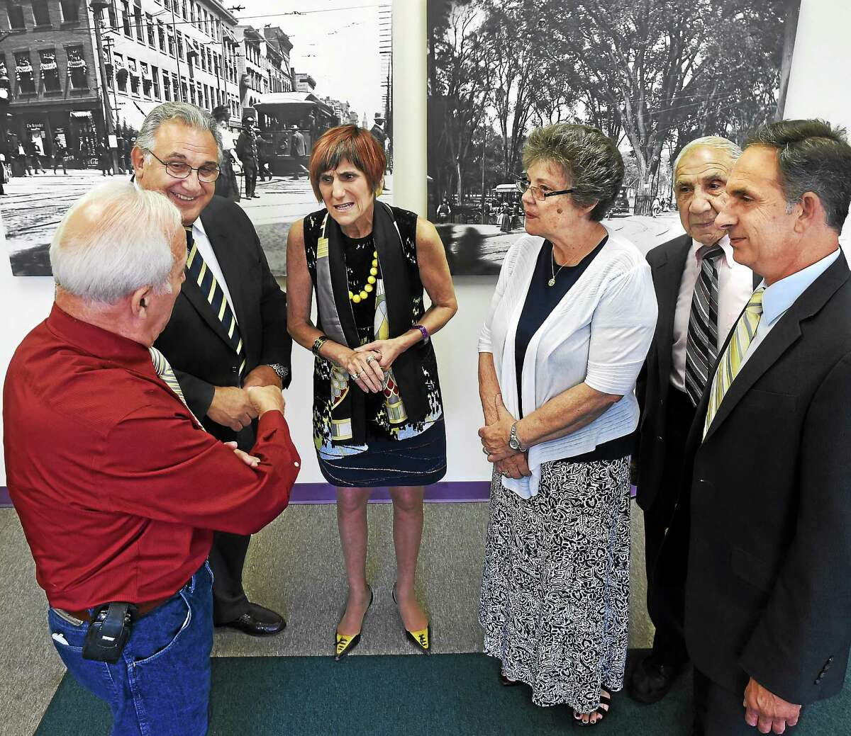 Members of the St. Patrick's Neighborhood Reunion committee and their honorees gathered in Congresswoman Rosa DeLauro's New Haven office. De Lauro is one of the honorees. From left: Committee chair John Ragozzino of North Haven, honoree Joe Celotto of Northford (North Branford), DeLauro, Joanne Lenzi Fresco of Branford, committee adviser Anthony Mastriano of North Haven, and State. Rep. David Yaccarino of North Haven.