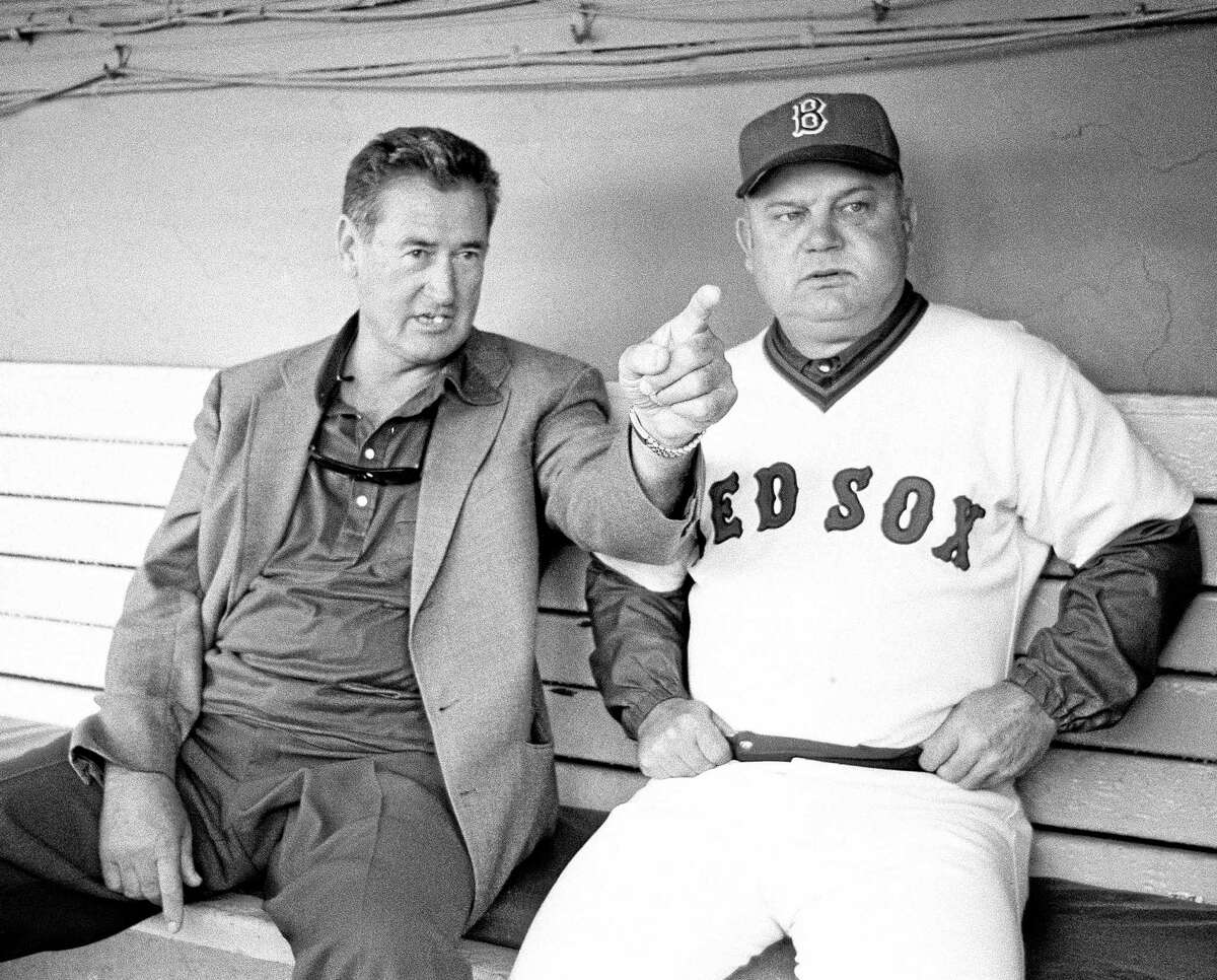 In this Sept. 30, 1978 file photo, former Boston Red Sox slugger Ted Williams, left, chats with Red Sox manager Don Zimmer prior to a game with the Toronto Blue Jays at Fenway Park.
