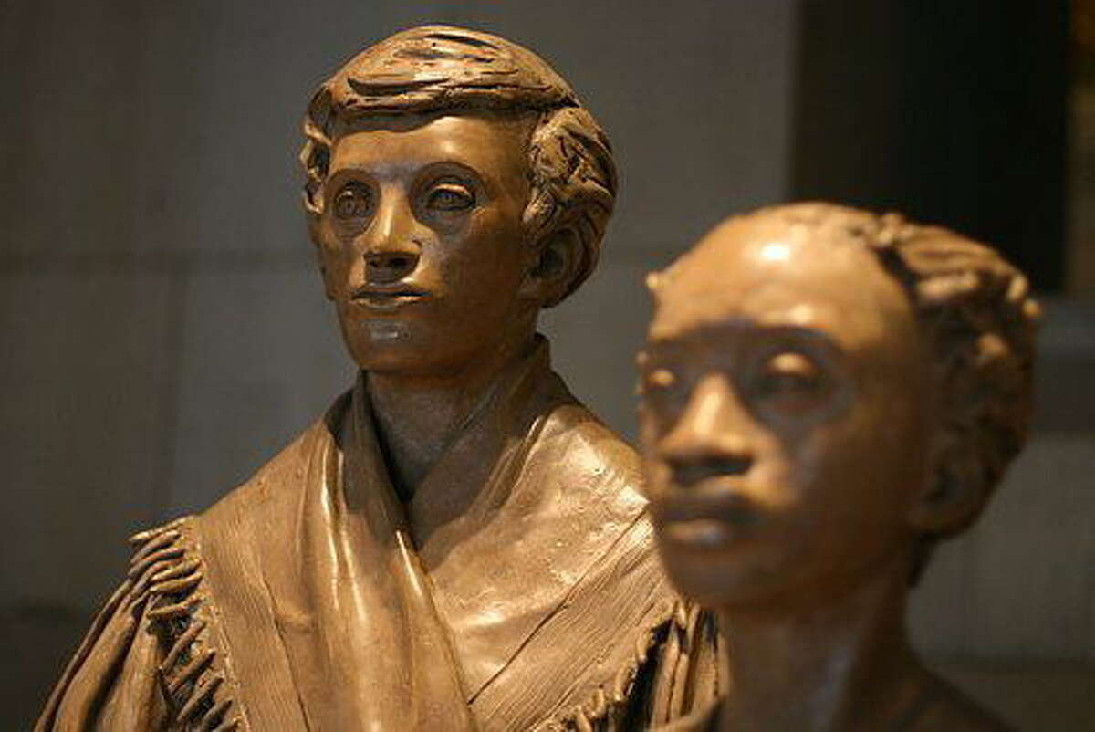 A statue of Prudence Crandall and a student on the first floor of the state Capitol. Hugh McQuaid/CT News Junkie