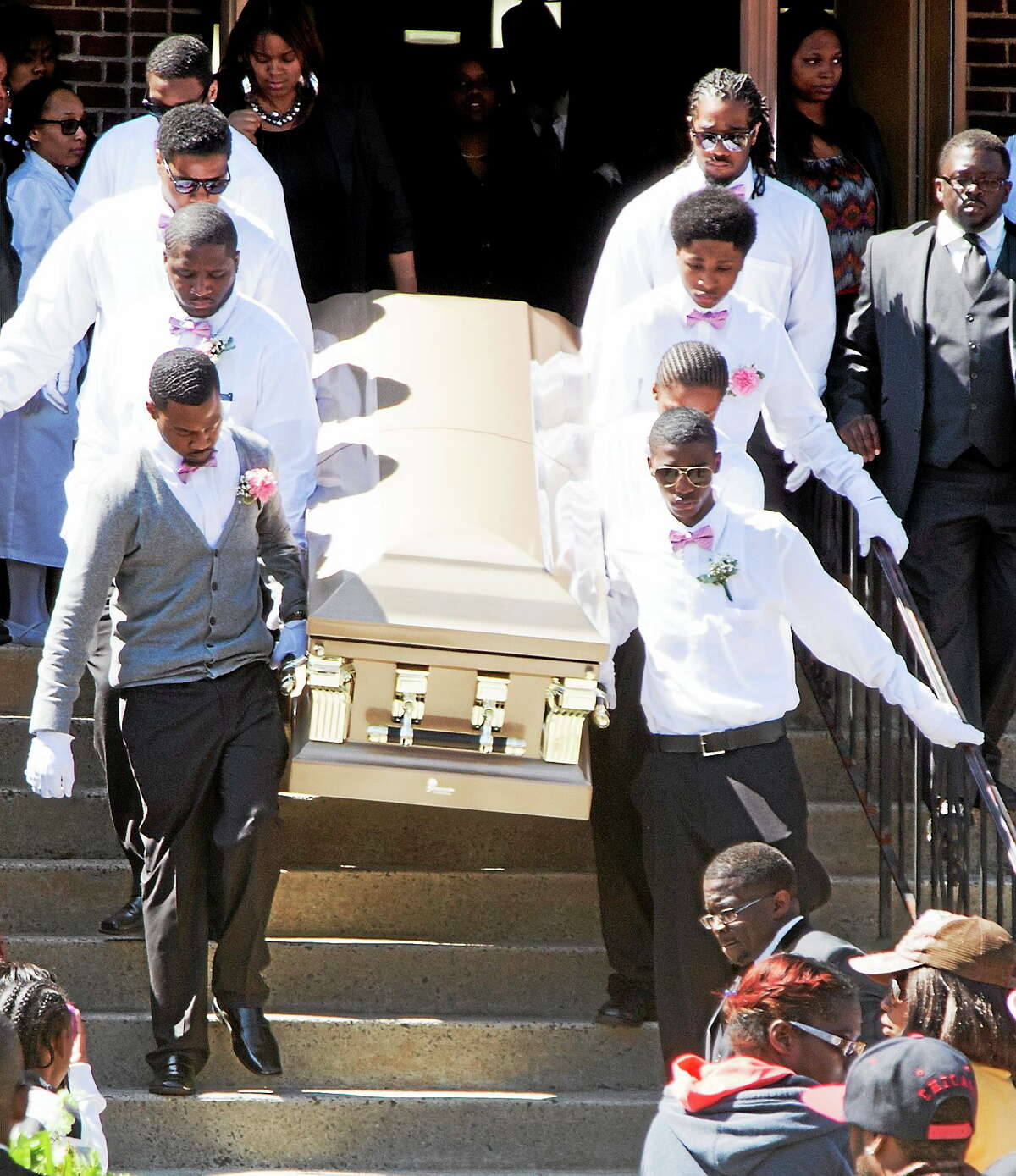 Hundreds attend the funeral for 16-year-old homicide victim Torrence Gamble Jr. at St. Matthews Unison Free Will Baptist Church Thursday morning in New Haven.