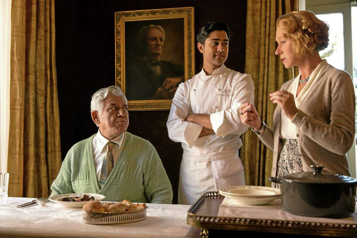 """""""The Hundred-Foot Journey"""" recipe calls for Om Puri as Papa, left, Manish Dayal as Hassan and Helen Mirren as Madame Mallory."""