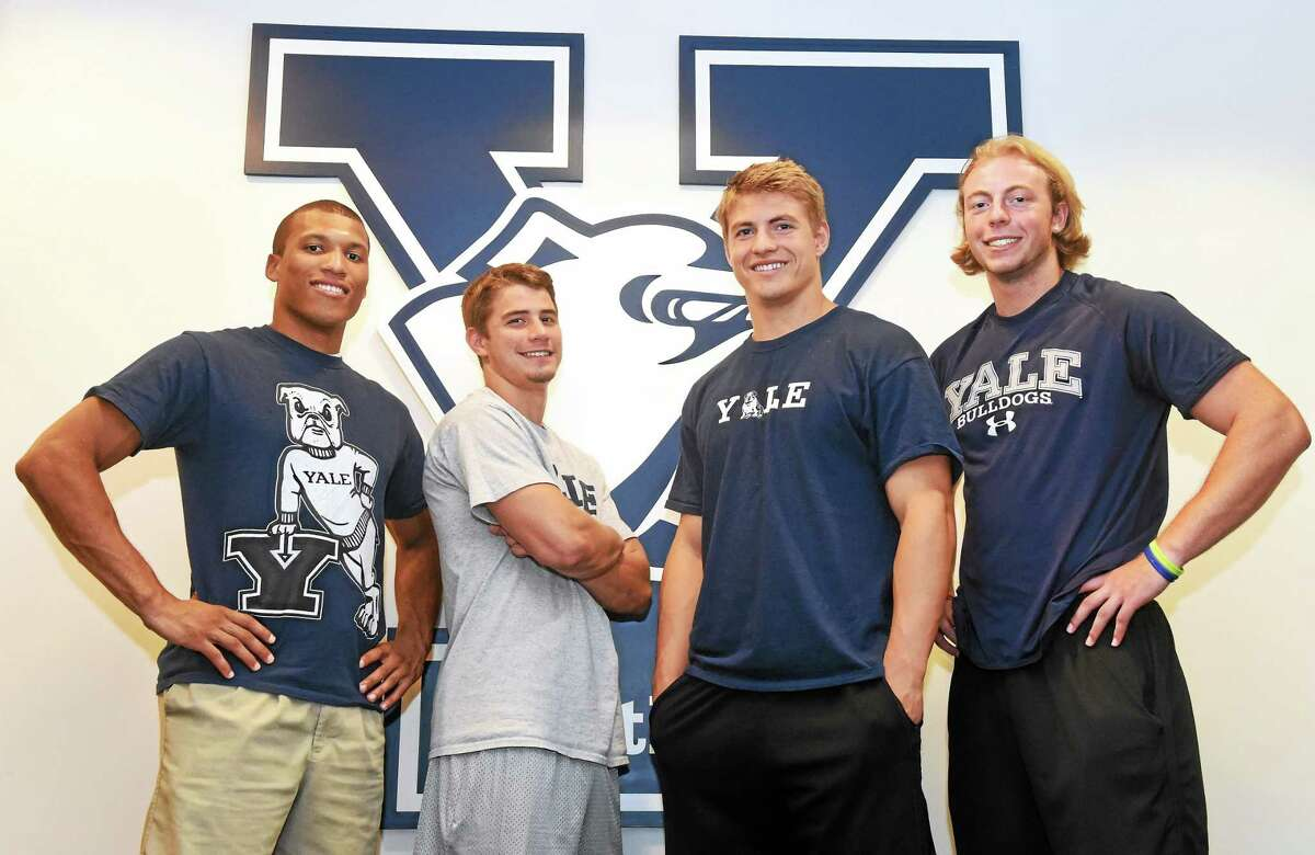 Incoming Yale football wide receivers, from left to right: Chris Williams-Lopez, Jake Dehart, Ross Drwal and Mike Siragusa.