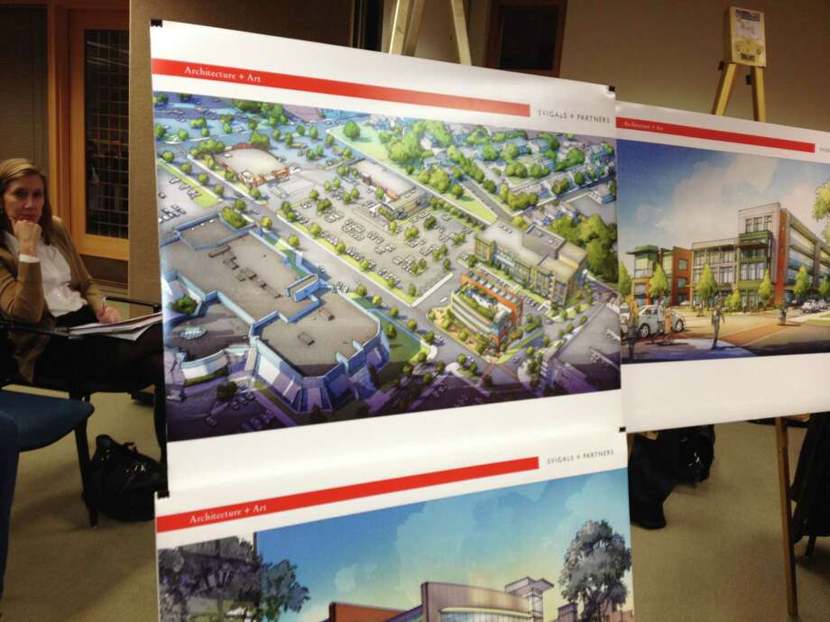 A schematic of proposed Continuum of Care building was on display at City Plan Commission meeting Wednesday in New Haven. Photo: MARY E. O'LEARY — NEW HAVEN REGISTER