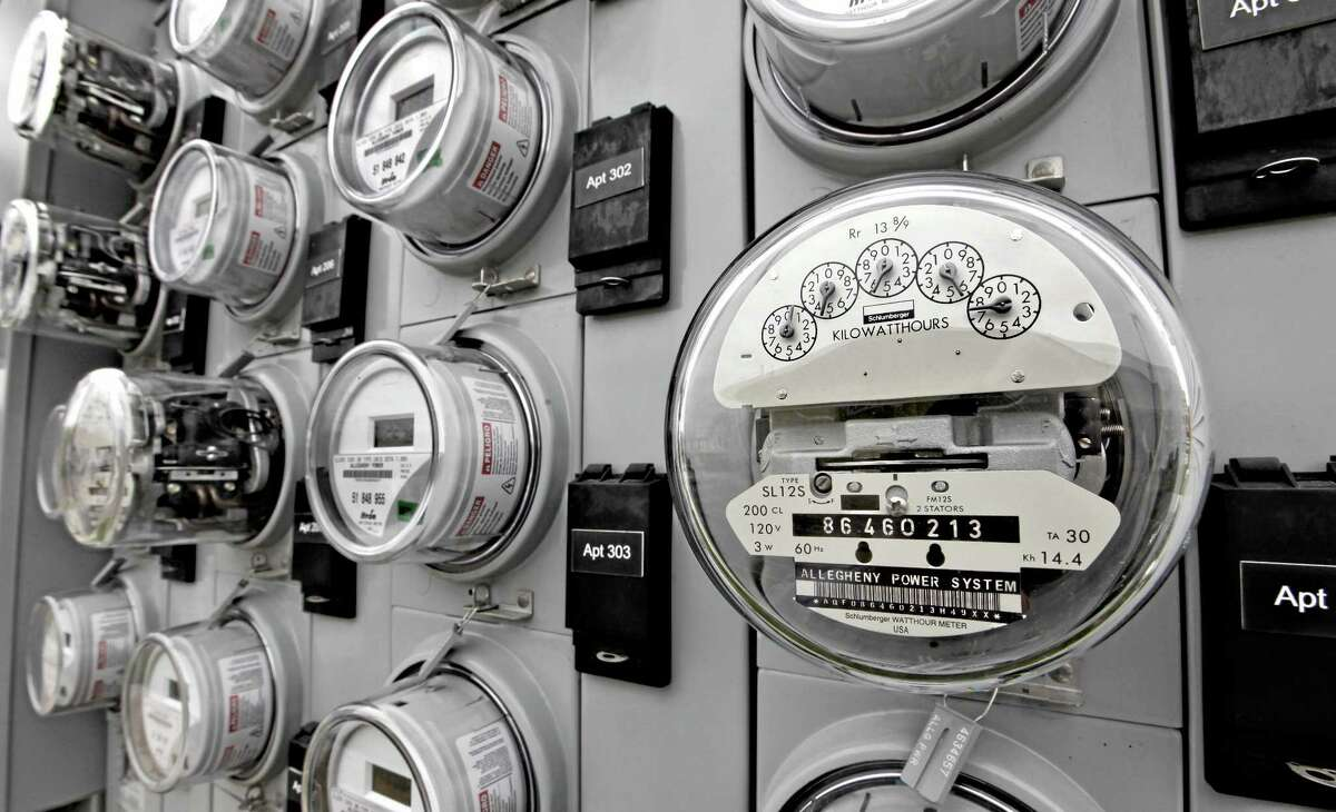 Watt-hour meters track electricity used by residents of an apartment building in St. Marys, Pennsylvania.