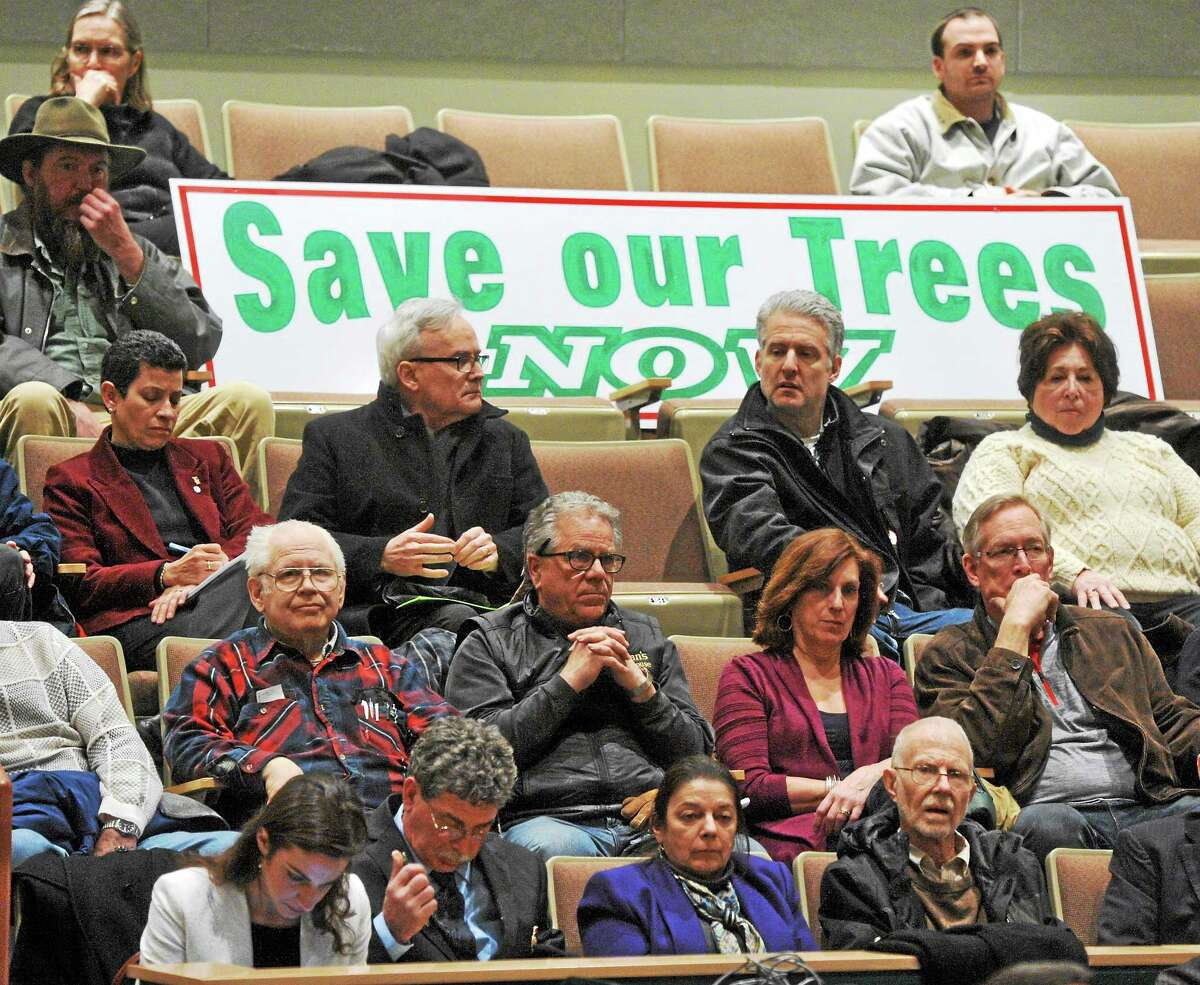 Residents and officials from Greater New Haven attend a public information meeting about tree trimming held by the Connecticut Public Utilities Regulatory Authority at Hamden Middle School March 6.