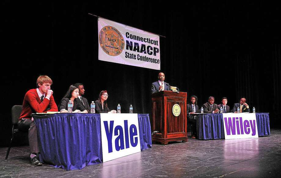 Yale University battles Wiley College (TX) during the 6th Annual NAACP Great Debate at the Shubert Theater.  4/9/14 Photo: (Peter Casolino-New Haven Register)