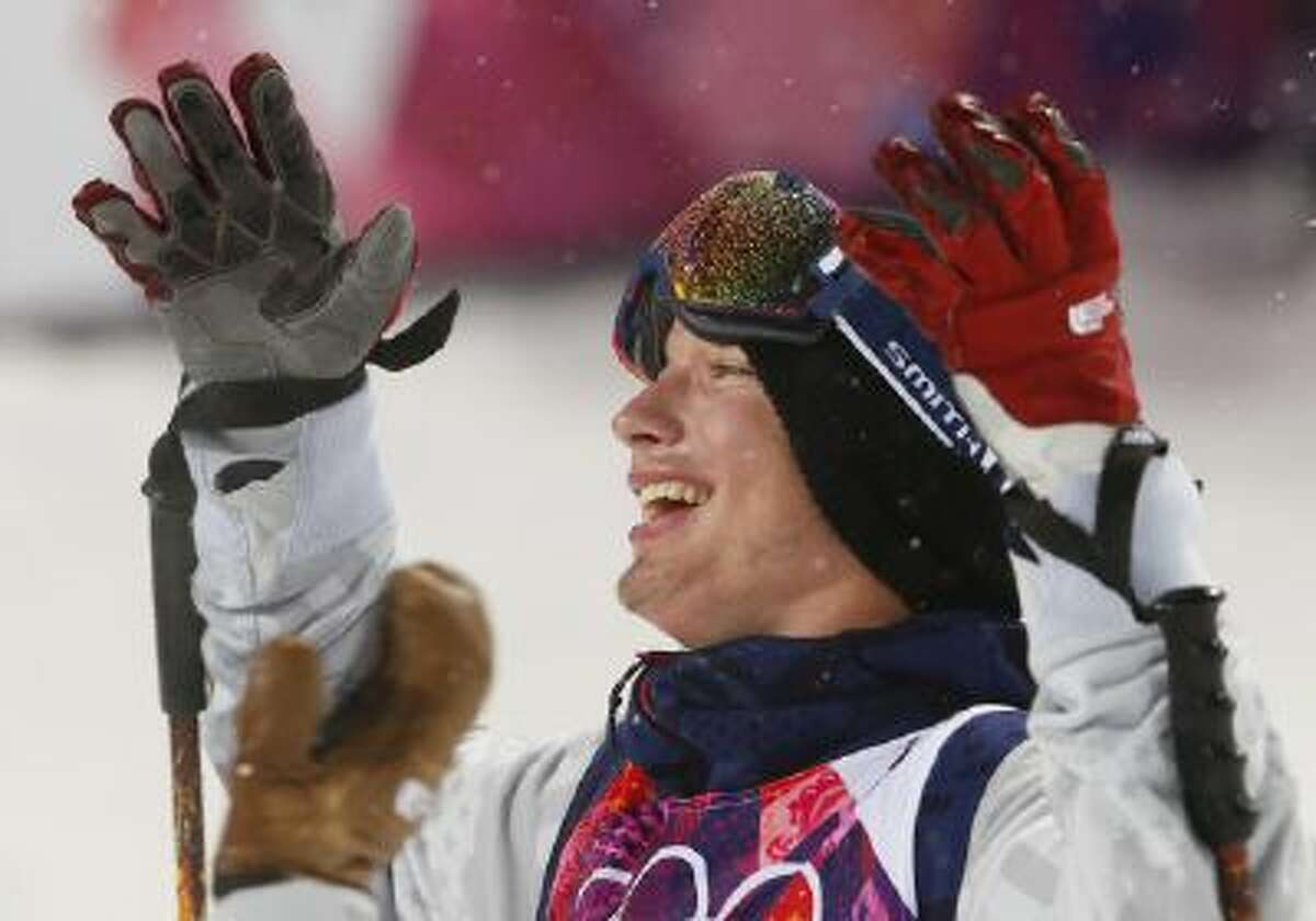 David Wise of the United States reacts after learning he won the gold medal in the men's ski halfpipe final at the Rosa Khutor Extreme Park, at the 2014 Winter Olympics, Tuesday, Feb. 18, 2014, in Krasnaya Polyana, Russia.