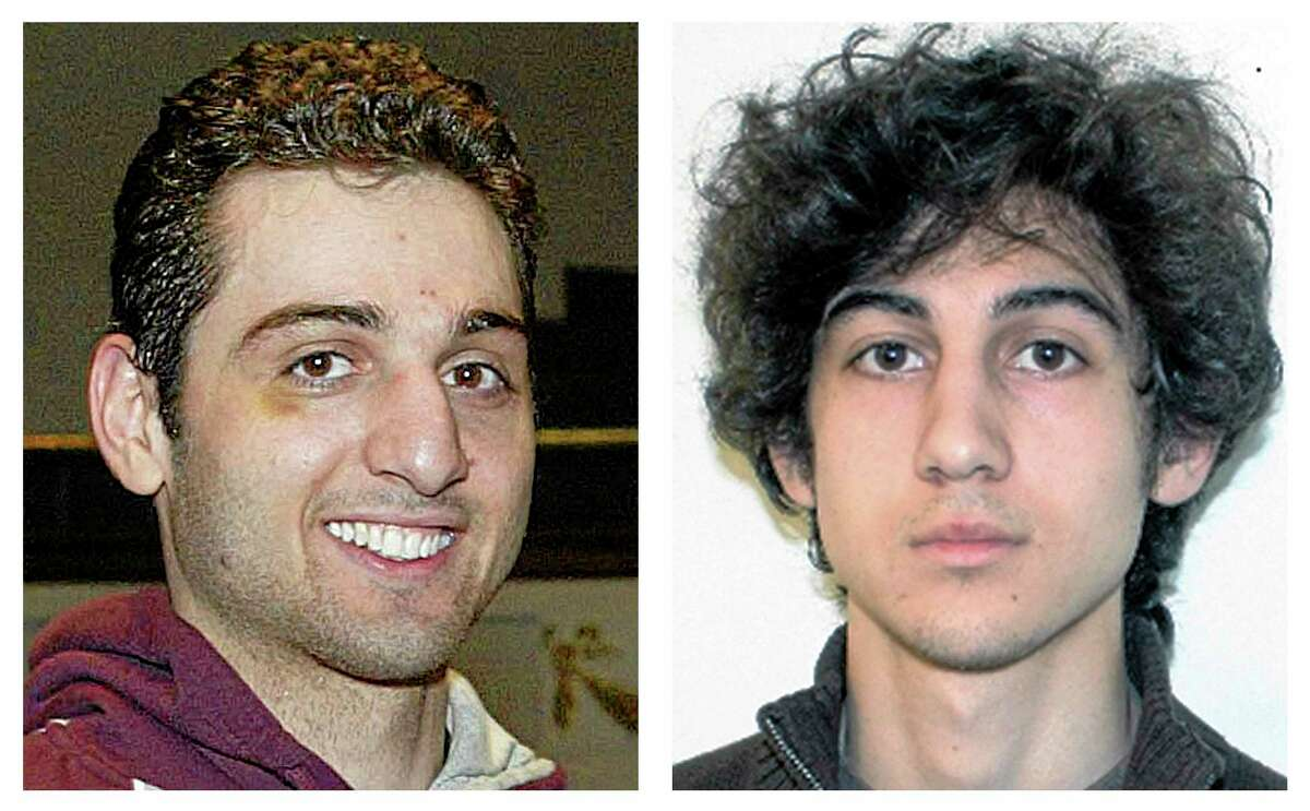 FILE - This combination of file photos shows brothers Tamerlan, left, and Dzhokhar Tsarnaev, suspects in the Boston Marathon bombings on April 15, 2013. Tamerlan Tsarnaev died after a gunfight with police several days later, and Dzhokhar Tsarnaev, was captured and is held in a federal prison on charges of using a weapon of mass destruction. (AP Photos/Lowell Sun and FBI, File)