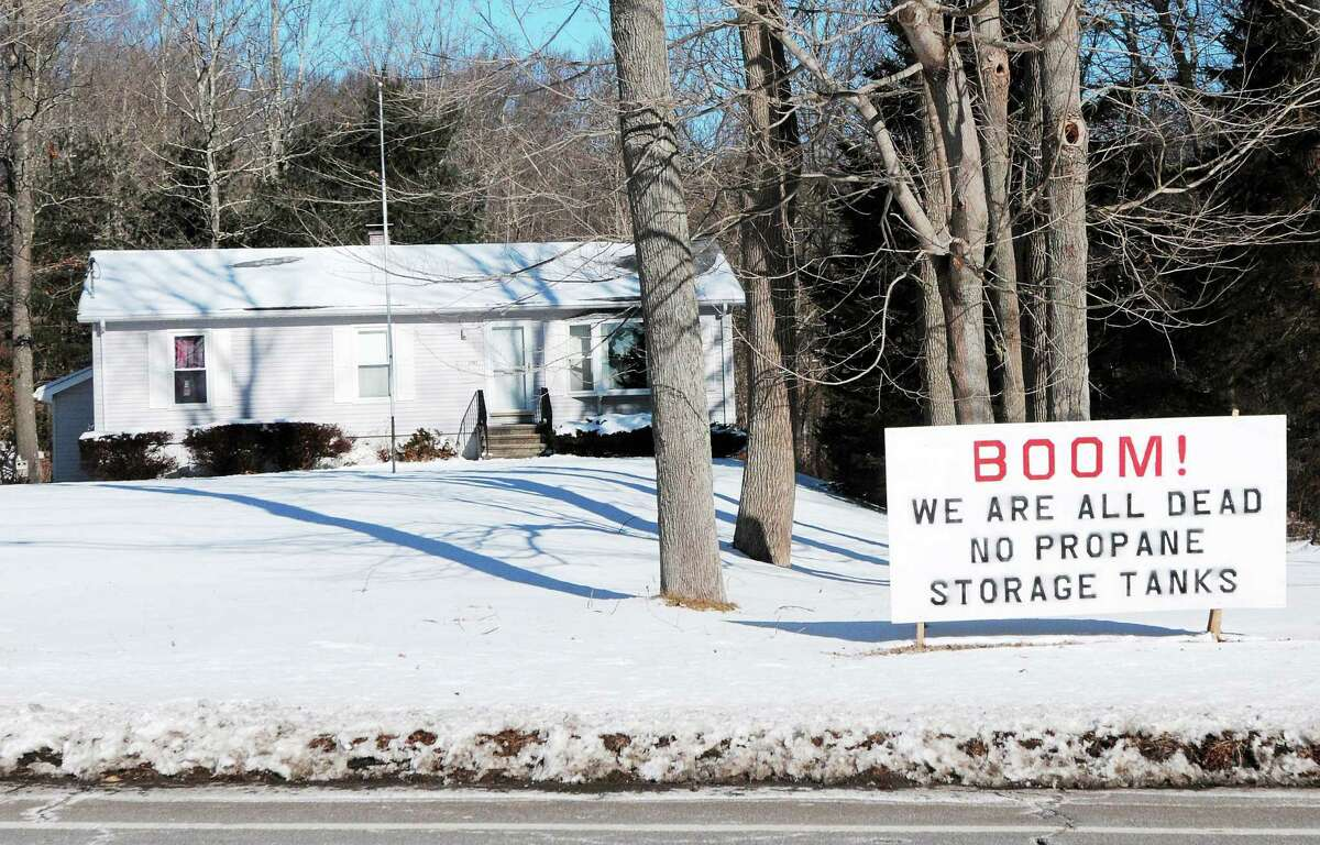 A sign at 2751 Boston Post Road in Guilford protests the proposed propane tank storage area.