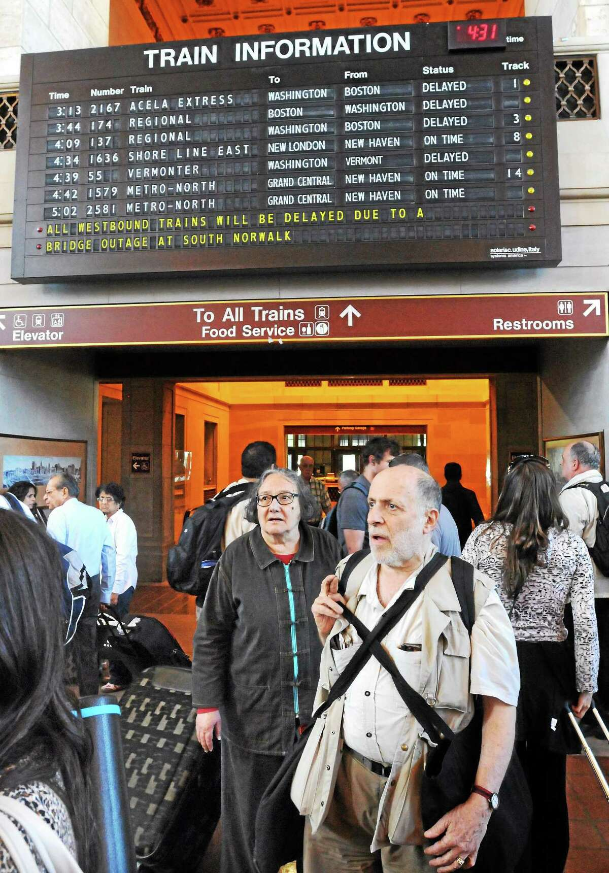 Train riders poured into New Haven's Union Station because of delays due to the Walk Bridge in Norwalk being stuck.