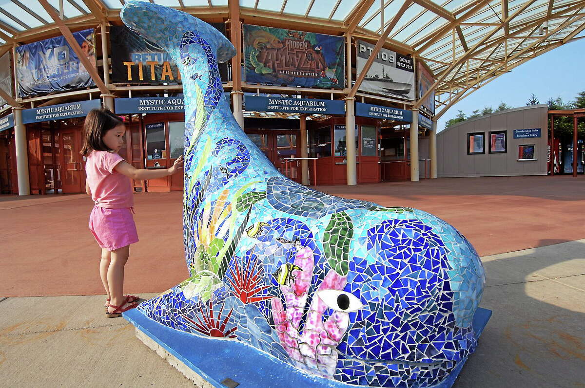 """A child touches the work of artist Gwen Basilica, a 6-foot fiberglass beluga whale called """"Sea-Tacean Celebration"""" beached outside the main entrance to Mystic Aquarium in Mystic, Conn."""