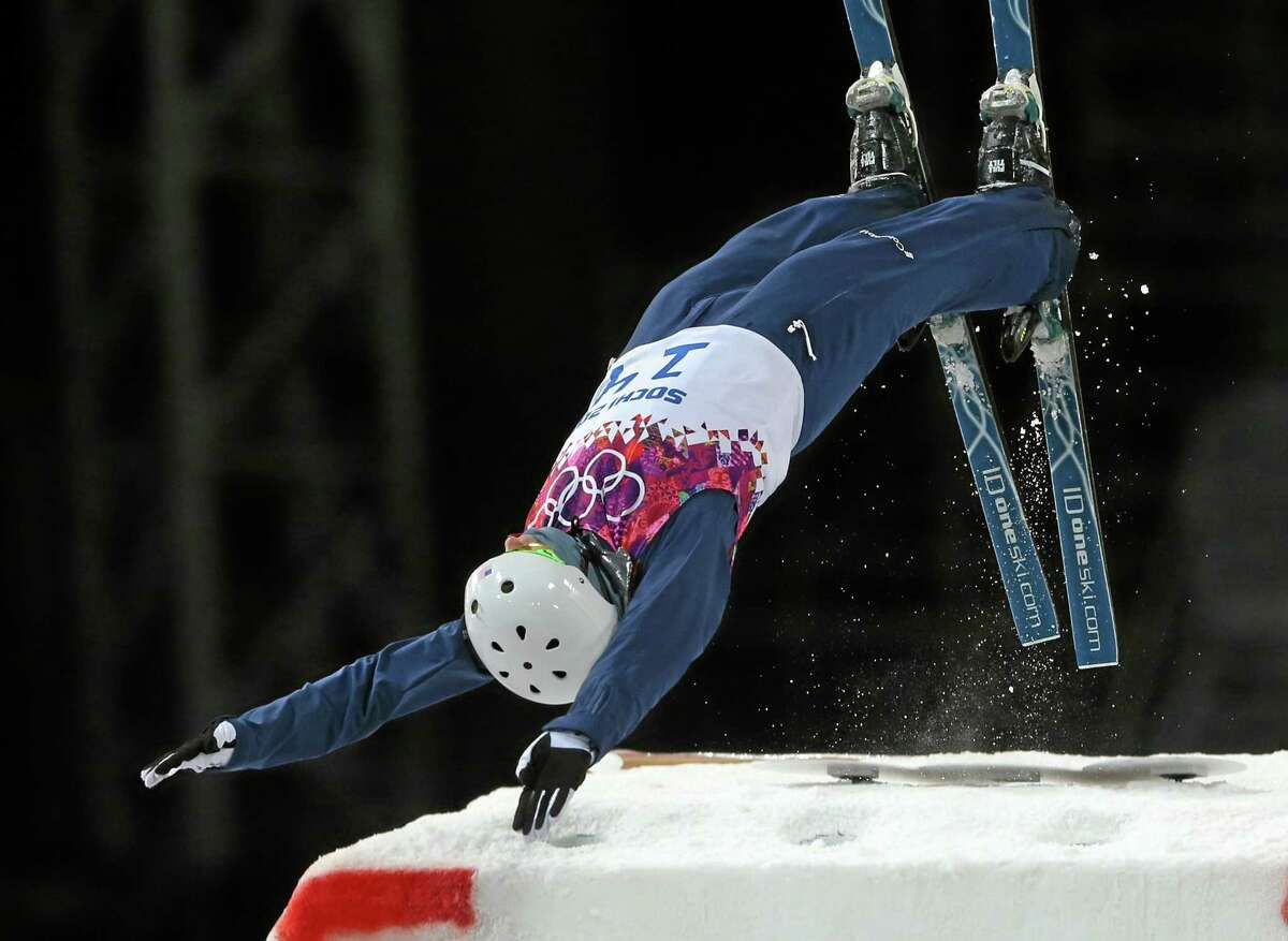 Mac Bohonnon of the United States jumps during the men's freestyle skiing aerials final Monday.