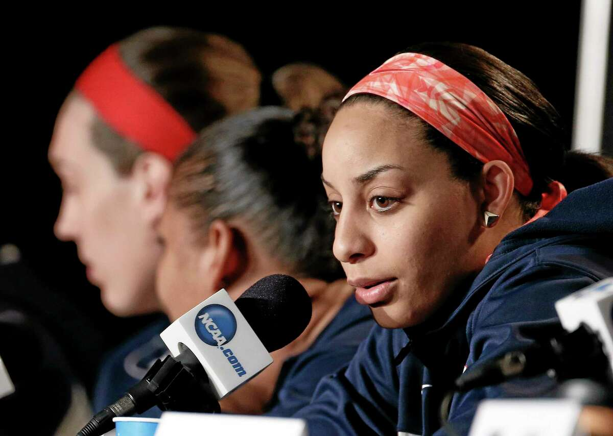 Connecticut guard Bria Hartley answers a question during a news conference Monday.