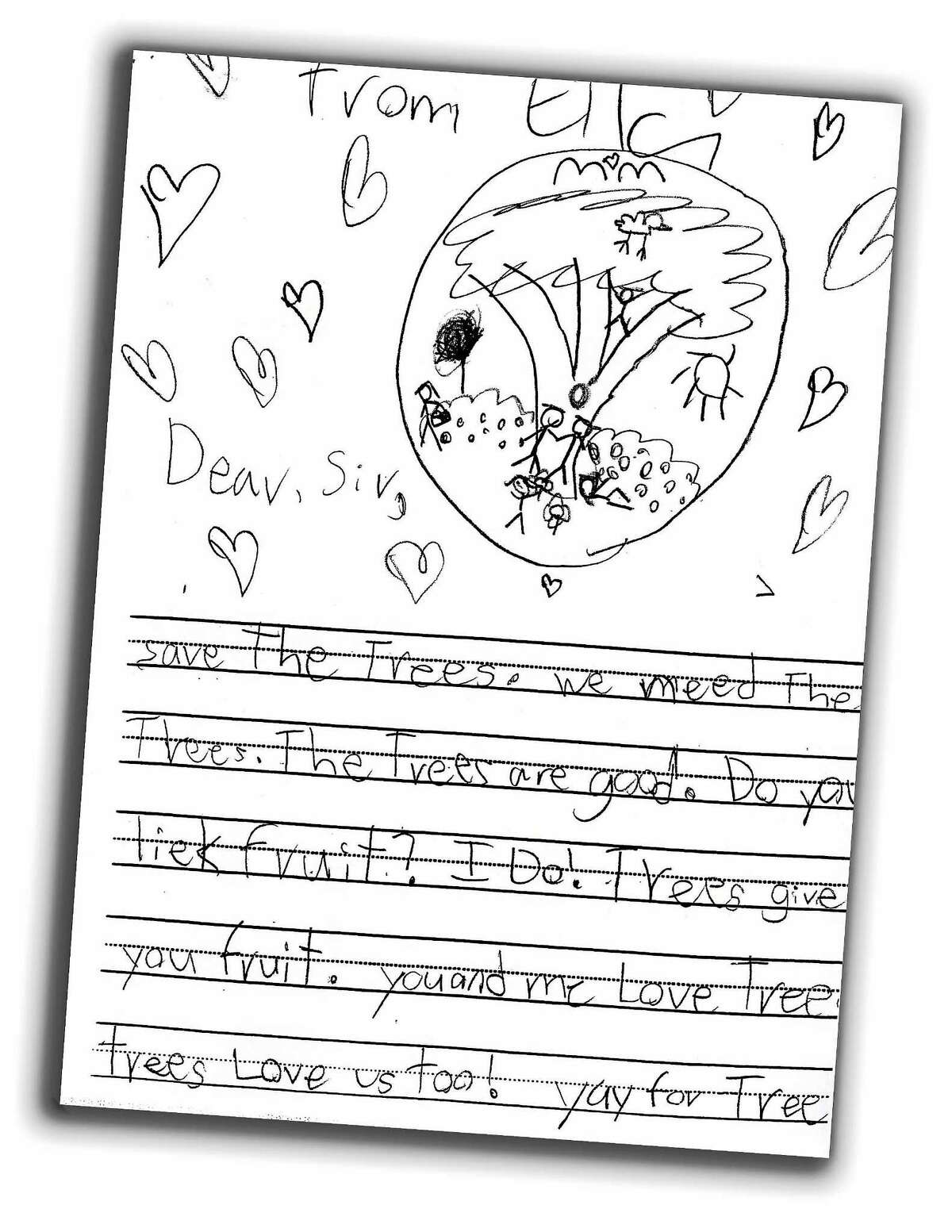 Ella, 6, a student at Foote School in New Haven, contributed this drawing about trees.