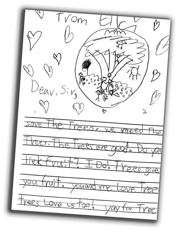 Ella, 6, a student at Foote School in New Haven, contributed this drawing about trees. Photo: Journal Register Co.