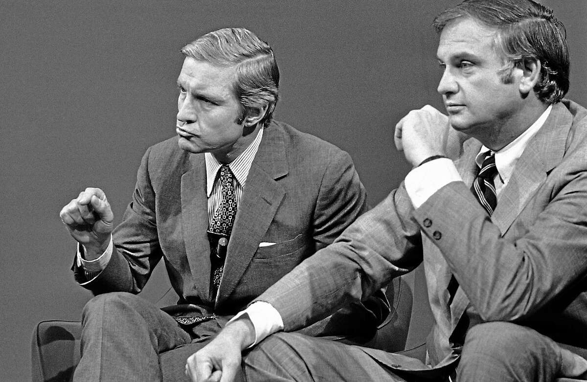 """Sen. Charles Percy, R-Ill., left, and Sen. Lowell Weicker, R-Conn., discuss developments in the Watergate investigation on April 30, 1973 during their appearance on ABC's """"Issues and Answers"""" in Washington."""