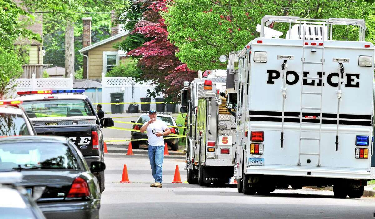 Milford Police investigate a shooting on Hollywood Avenue in Milford on Wednesday.
