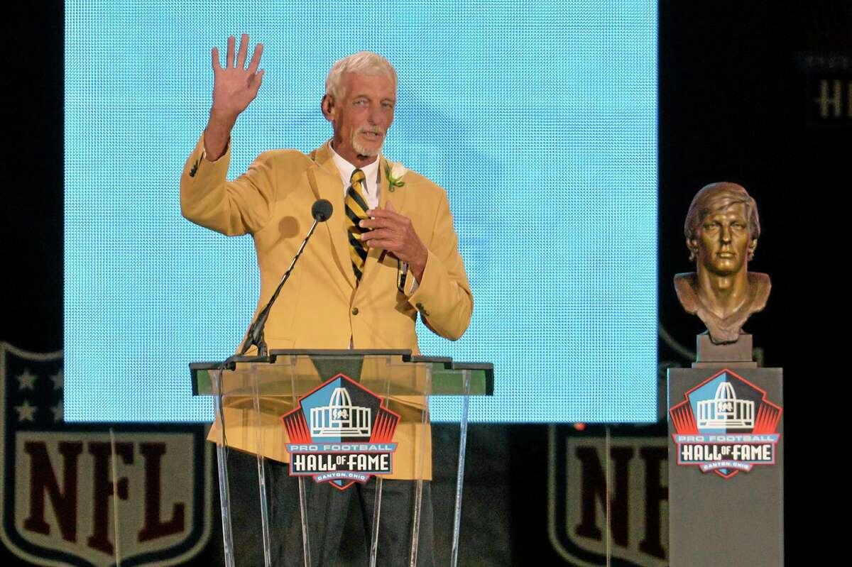 Hall of Fame inductee Ray Guy speaks during the 2014 Pro Football Hall of Fame enshrinement ceremony at the Pro Football Hall of Fame Saturday in Canton, Ohio.