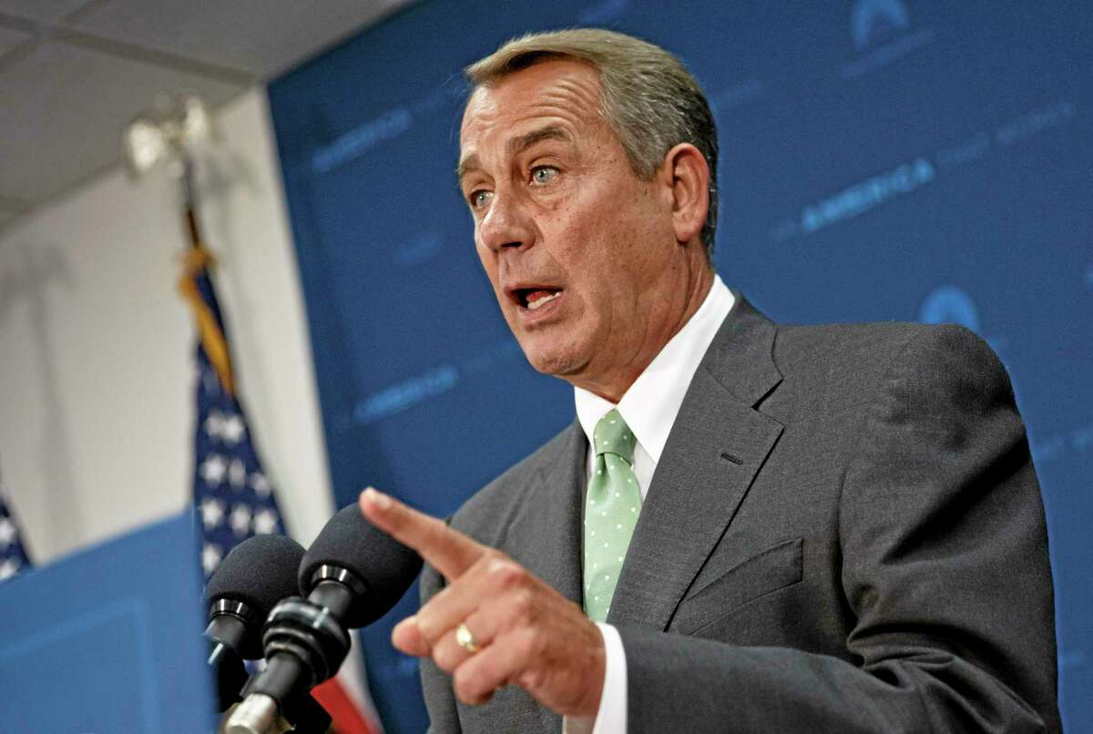 House Speaker John Boehner of Ohio talks to reporters in May about the Veterans Administration problems.