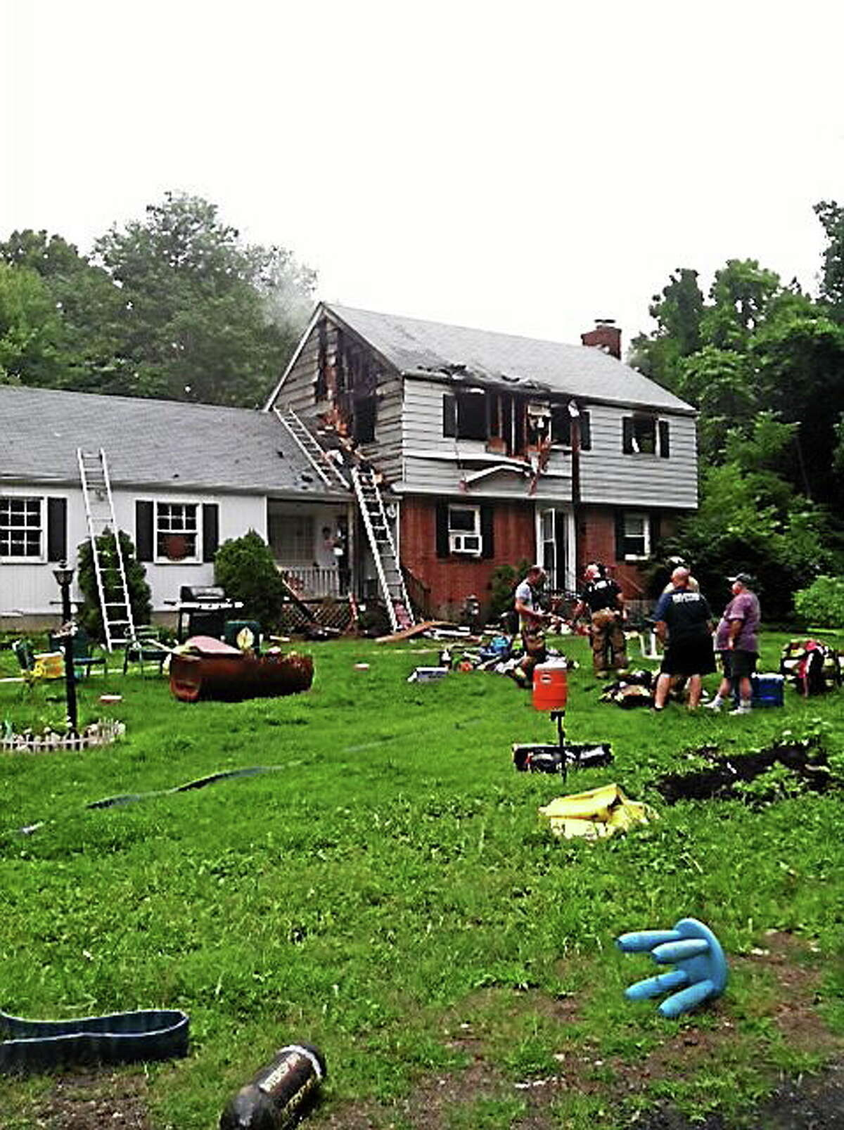 208 Cedarhurst Lane in Milford, which was severely damaged by fire Saturday evening.