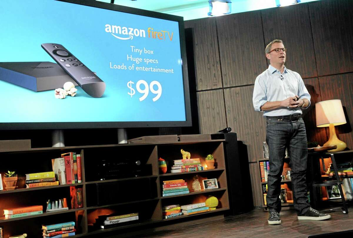 Amazon's Peter Larsen introduces Amazon Fire TV during a press conference in New York April 2.