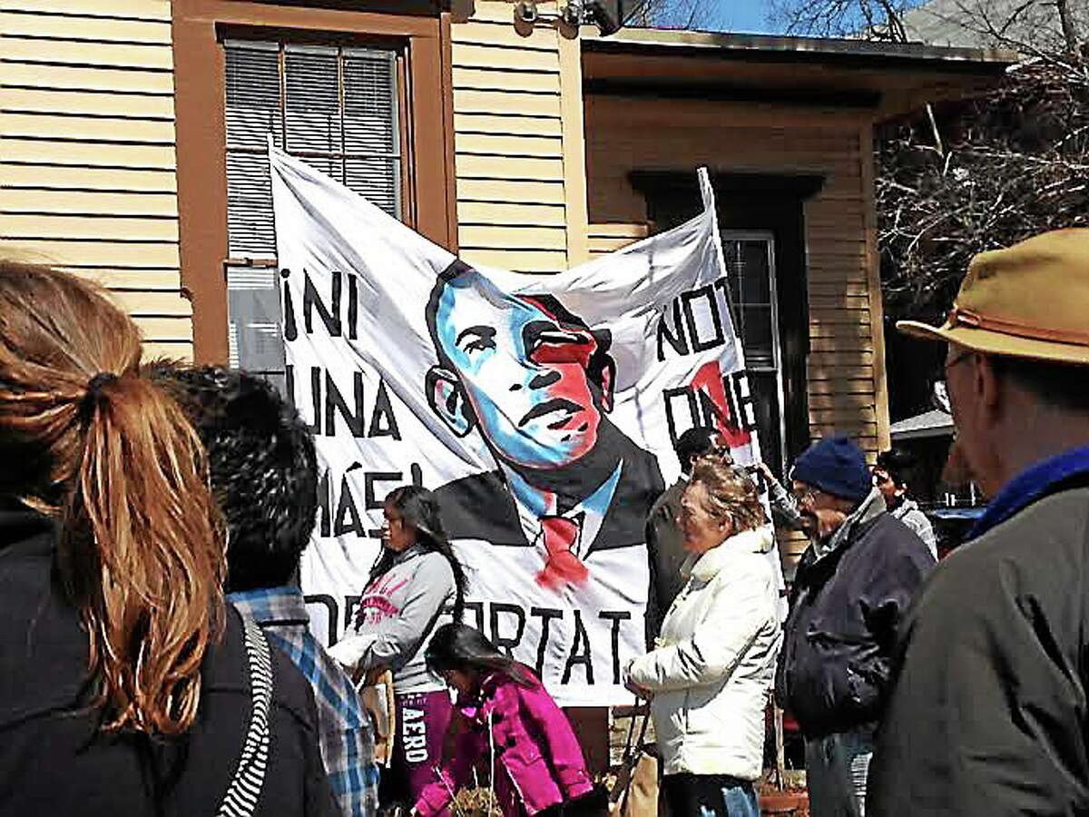 Immigration rally at Junta for Progressive Action in New Haven, one of over 70 cities nationwide partaking in the National Day for Action (Charlotte Adinolfi-New Haven Register).