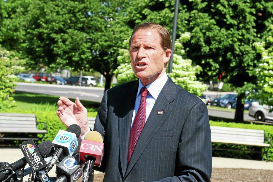 U.S. Sen. Richard Blumenthal, D-Conn. speaks to the media. Photo: Hugh McQuaid — CTNewsJunkie.com — File Photo