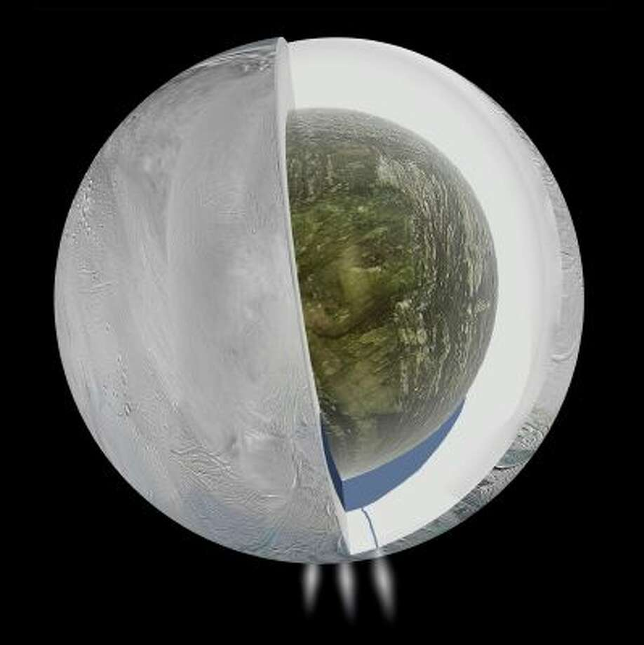 This illustration provided by NASA and based on Cassini spacecraft measurements shows the possible interior of Saturn's moon Enceladus - an icy outer shell and a low density, rocky core with a regional water ocean sandwiched in between the two at southern latitudes. Plumes of water vapor and ice, first detected in 2005, are depicted in the south polar region. Scientists have uncovered a vast ocean beneath the icy surface of the moon, they announced Thursday, April 3, 2014. Italian and American researchers made the discovery using Cassini, a NASA-European spacecraft still exploring Saturn and its rings 17 years after its launch from Cape Canaveral. (AP Photo/NASA, JPL, Caltech) Photo: AP / NASA, JPL, Caltech