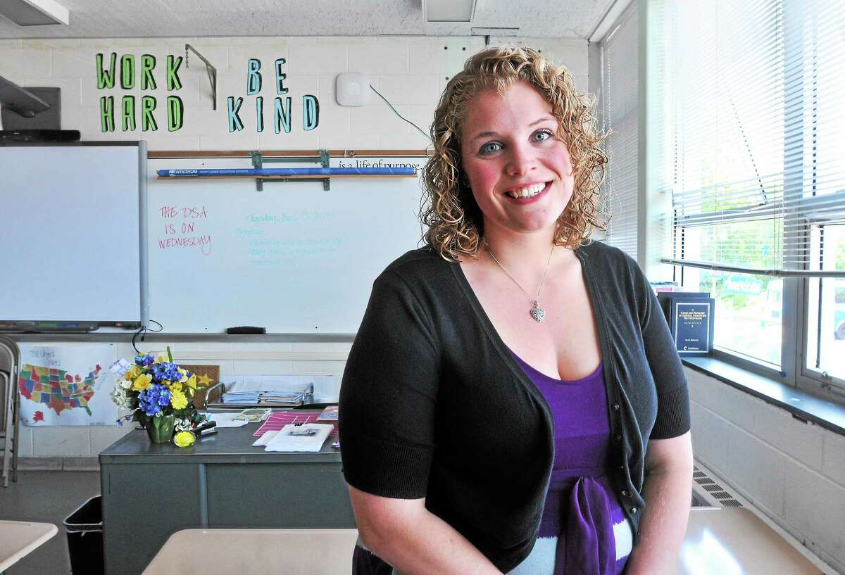 Teacher Kellie Burkhardt, in her classroom Tuesday, was named Teacher of the Year at Emmett O'Brien Technical High School in Ansonia.