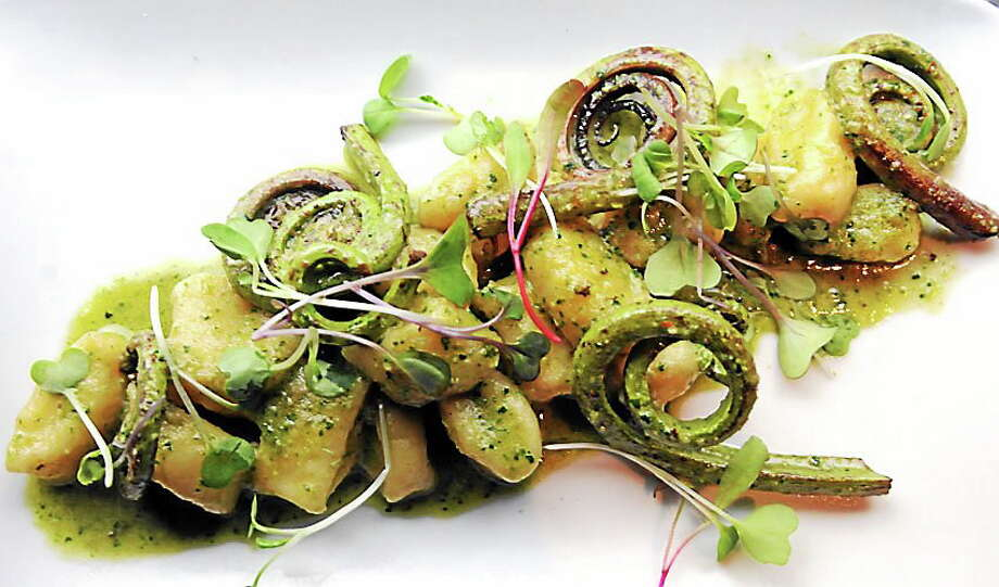 (Mara Lavitt ó New Haven Register)   May 8, 2014 New Haven  Goat cheese gnocchi with fiddleheads in a sweet pea sauce. Barcelona restaurant.  mlavitt@newhavenregister.com Photo: Journal Register Co. / Mara Lavitt