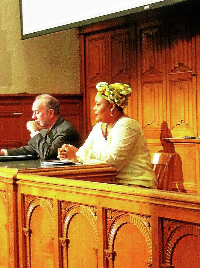 2011 Nobel Peace Prize winner Leymah Gbowee of Liberia gave a lecture about Pan-Africanism at Yale Law School Friday. Photo: James Shelton — New Haven Register