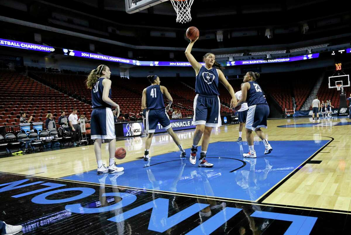 The UConn women practice in Lincoln, Neb., on March 28 before their Sweet Sixteen game against BYU.