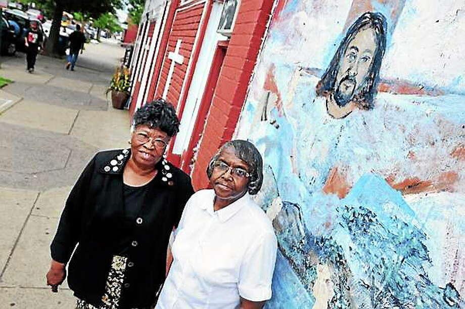 File photo: Pastors Julia McCarter (left) of the Deliverance Temple Church and Bernice Peterson (right) of Glorified Deliverance Center Church. Photo: Journal Register Co.