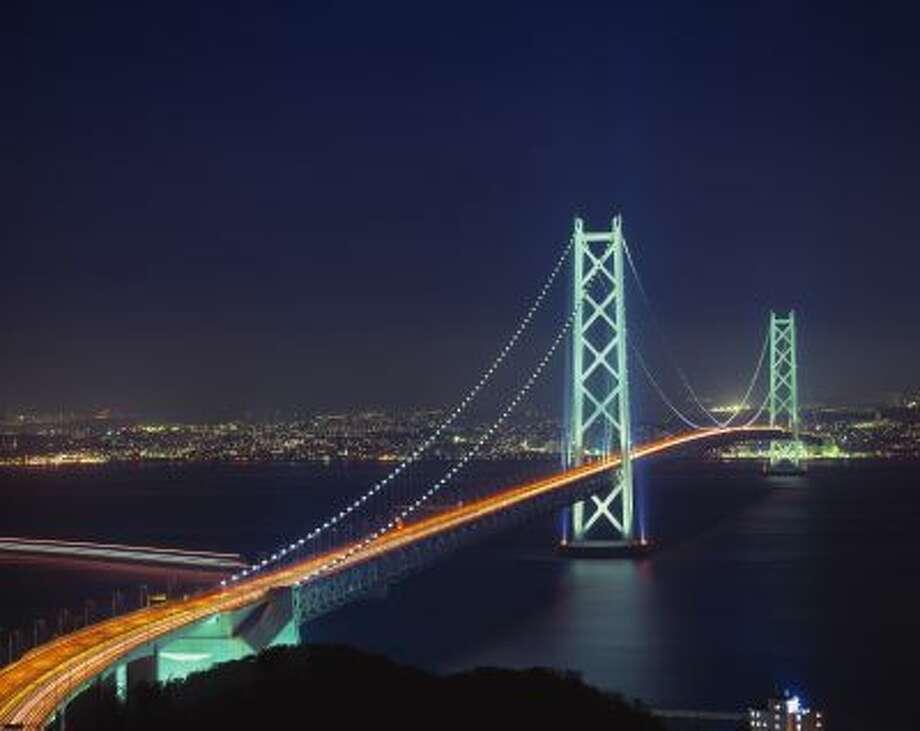 Kobe, Japan --- Akashi Kaikyo Bridge, Hyogo Prefecture, Japan --- Image by &Copy; GYRO PHOTOGRAPHY/amanaimages/Corbis Photo: © GYRO PHOTOGRAPHY/amanaimages/Corbis / © Corbis.  All Rights Reserved.