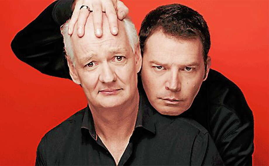 Brad Sherwood, right, and Colin Mochrie work the crowd and work each other in their Two Man Group show. Photo: CONTRIBUTED
