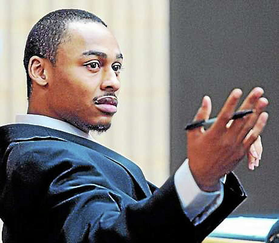 Cordaryl Silva gestures as his trial begins Tuesday at Superior Court in Milford. Photo: Arnold Gold - New Haven Register