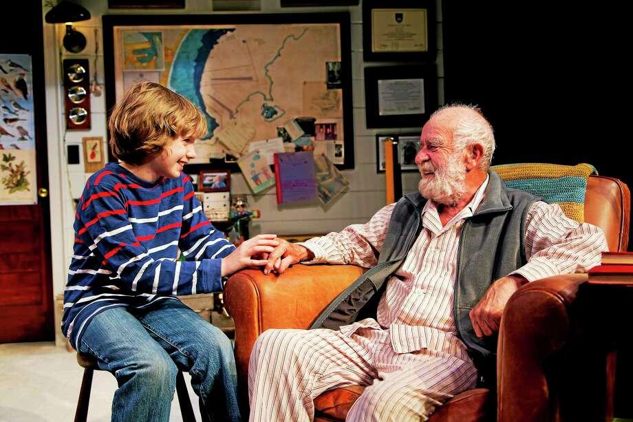"Athol Fugard and Aidan McMillan in ""The Shadow of the Hummingbird"" at Long Wharf Theatre. Photo: T. Charles Erickson   / © T Charles Erickson"