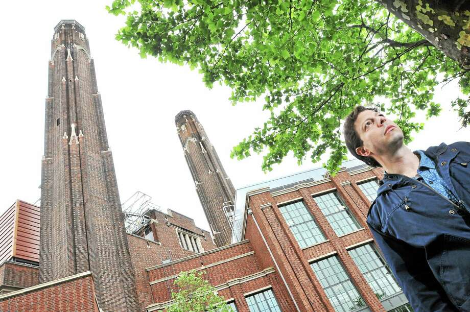 Elihu Rubin, Assistant Professor of Urbanism at the Yale School of Architecture, is photographed in front of the Yale Central Power Plant in New Haven on 5/28/2014. Photo: (Arnold Gold-New Haven Register)