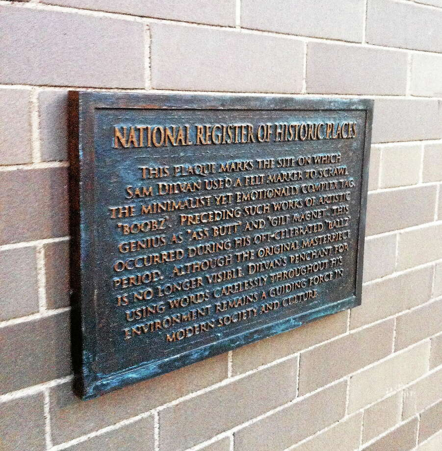 This historic plaque on the outside of the Yale University Art Gallery is actually an April Fool's Day prank. Photo: Journal Register Co.
