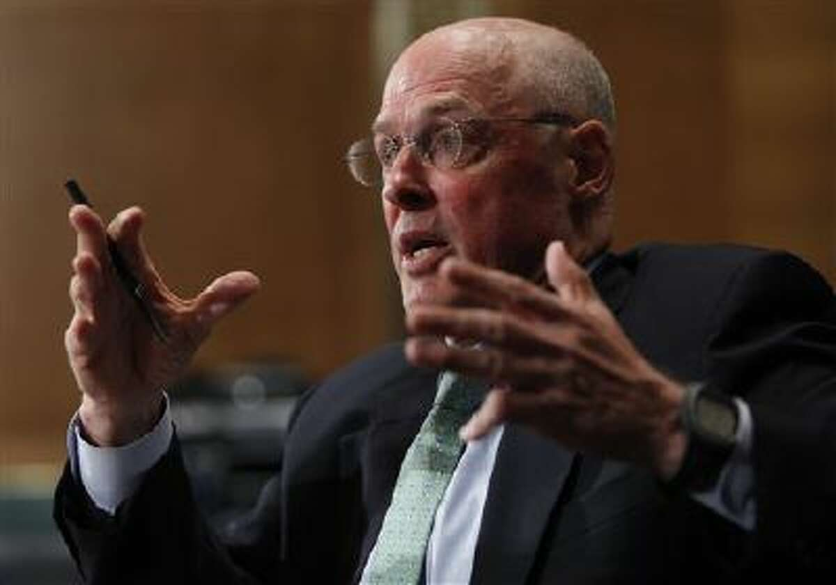 Former Treasury Secretary Henry Paulson testifies on Capitol Hill in Washington,Thursday, May 6, 2010, before the Financial Inquiry Crisis Commission.(AP Photo/Pablo Martinez Monsivais)