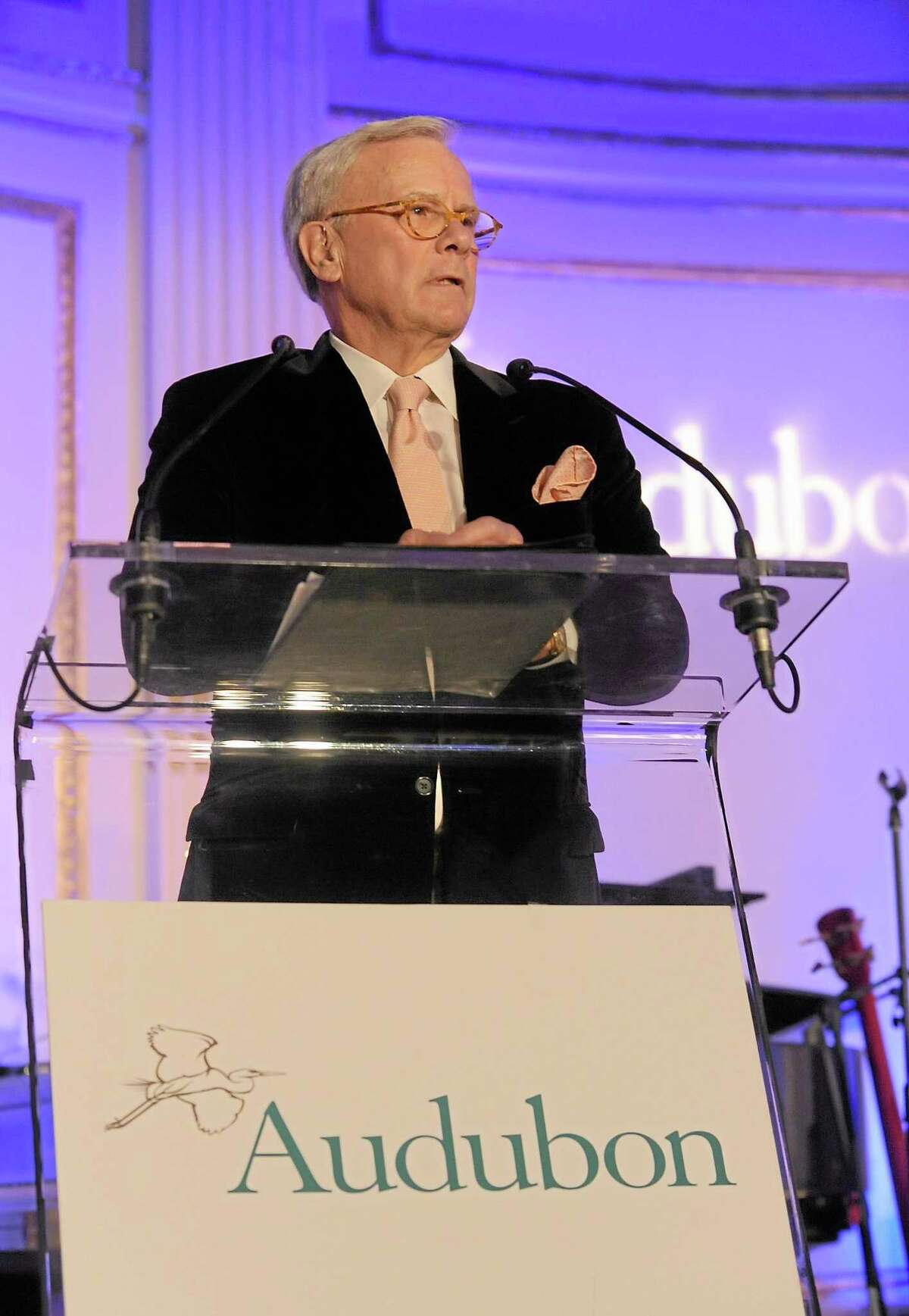 Tom Brokaw hosts The National Audubon Society's first gala to jointly award the Audubon Medal and the inaugural Dan W. Lufkin Prize for Environmental Leadership, Thursday, Jan. 17, 2013, in New York. (Photo by Diane Bondareff/Invision for The National Audubon Society/AP Images)